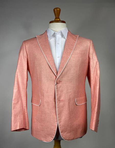 Mens Peach - Salmon Color Trim Lapel Linen Blazer - Sport Coat