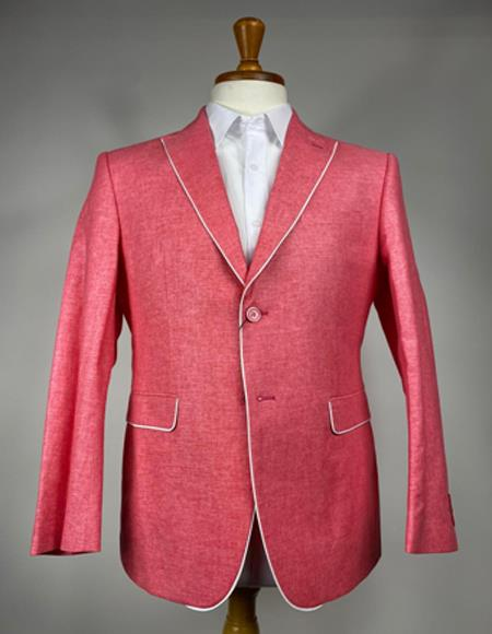 Mens Pink 2 Button Single Breasted Peak Lapel Blazer