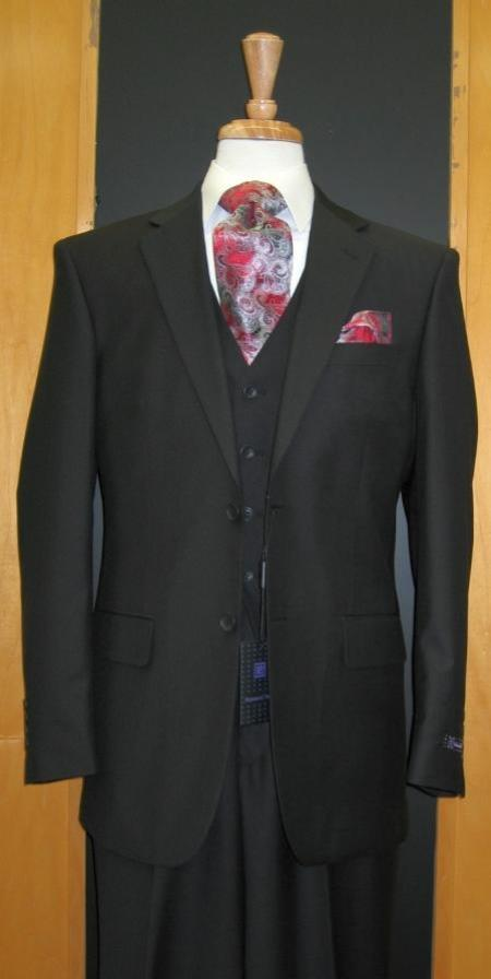 Two Button Three Piece Black Suit for Funeral
