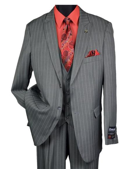 Mens Black Big and Tall Grey Pinstripe Vested Suit