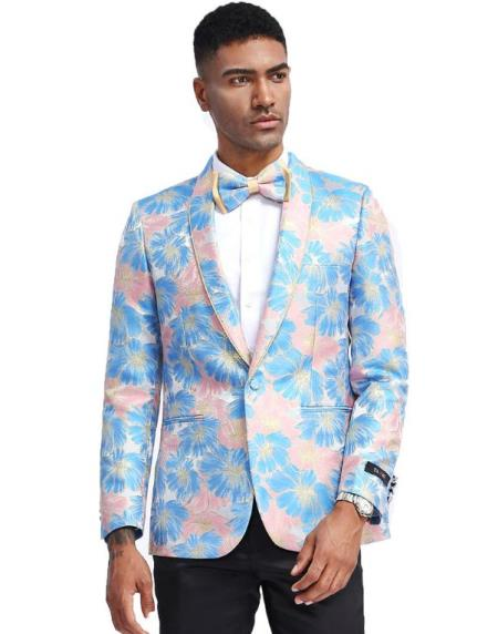 Light Blue and Pink Tuxedo Jacket Floral Pattern - Blazer - Prom - Wedding - Mens Flower Suit