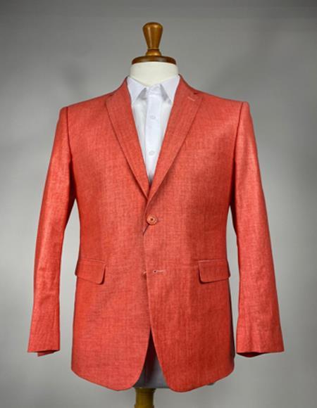 Peach - Coral - Burn Orange Mens Colorful Summer Linen Suit (Jacket) - Pastel Outfits Male - Pastel Suit