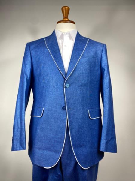 Royal Blue Mens Colorful Summer Linen Suit (Jacket) - Pastel Outfits Male - Pastel Suit