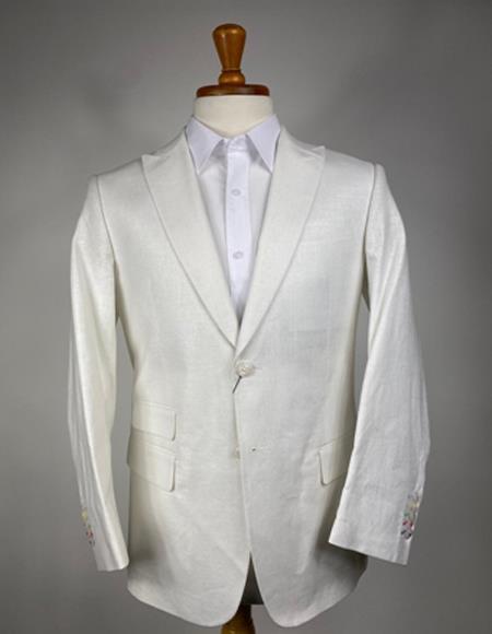 Mens Cream Two Flap Peak Lapel Front Pockets Sport Coat