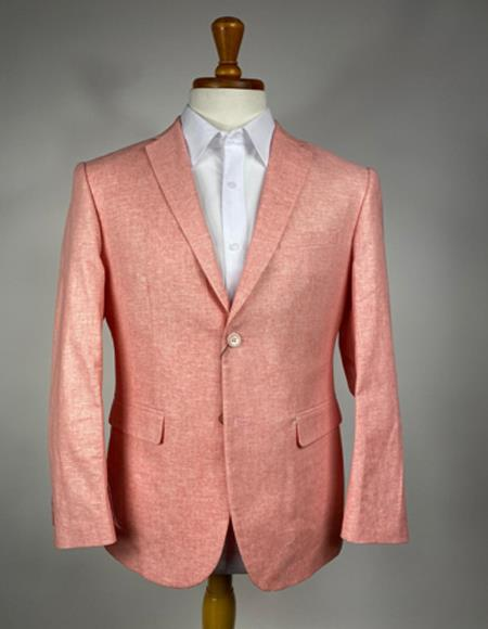 Mens Orange Two Flap Peak Lapel Front Pockets Sport Coat