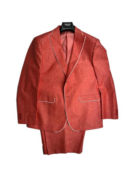 Burnt Orange - Salmon Color Mens Linen Fabric Summer Business Suits With Shorts Pants Set