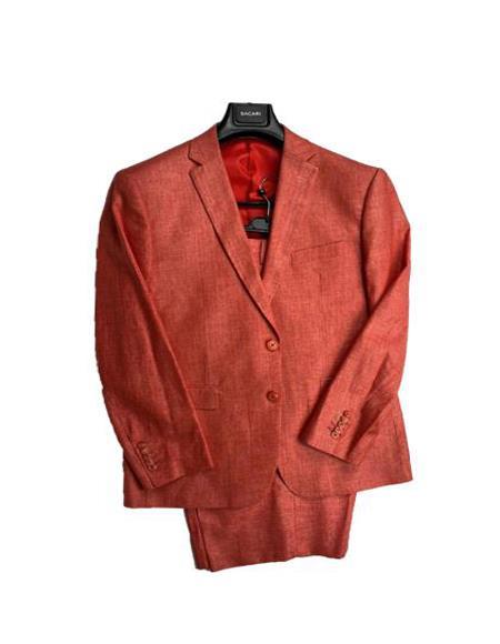 Mens Linen Fabric Summer Business Suits With Shorts Pants Set Burnt Orange - Salmon Color