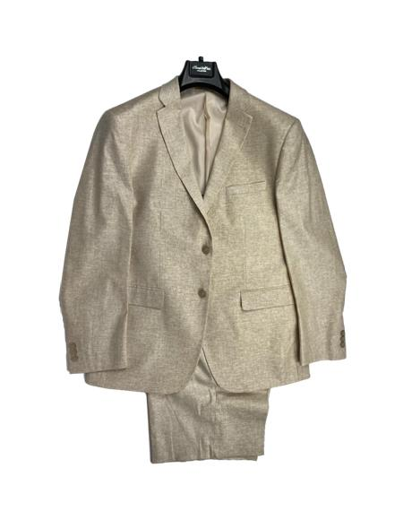 Tan - Sand Color Mens Linen Fabric Summer Business Suits With Shorts Pants Set