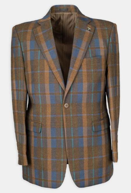 3 Pc Notch Lapel Plaid Affordable Cheap Priced Mens Dress Suit For Sale