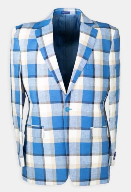 Notch Lapel Plaid Linen Blend Affordable Cheap Priced Mens Dress Suit For Sale