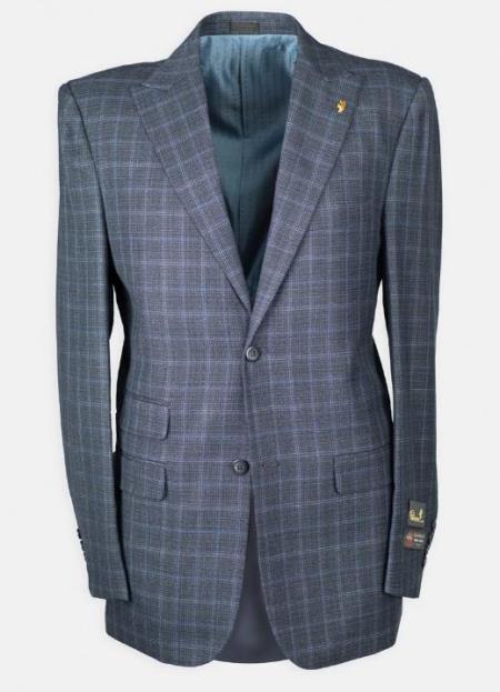 Peak Lapel Windowpane w/ Scoop Vest Affordable Cheap Priced Mens Dress Suit For Sale