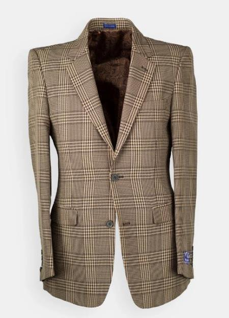 Mens Brown Windowpane houndstooth Blazer - Sport Coat