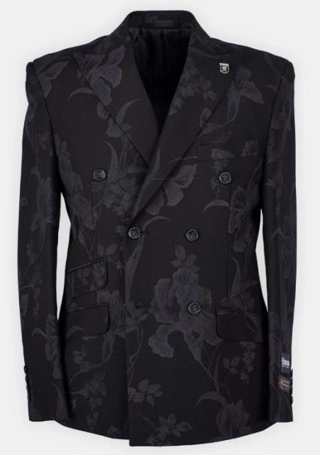 Mens Black Paisley Pattern Double Dreasted Suit