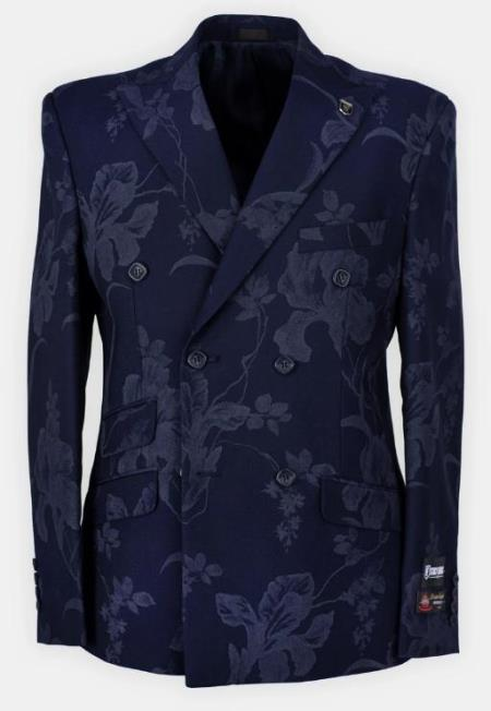 Mens Navy Six Button Flat Front Half Lined Suit