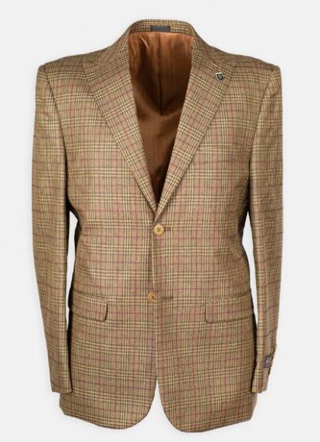 Peak Lapel Plaid w/ DB Cross Suede Vest Affordable Cheap Priced Mens Dress Suit For Sale