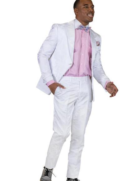 Paisley - Floral Suit (Jacket and Pants) White - Mens Flower Suit