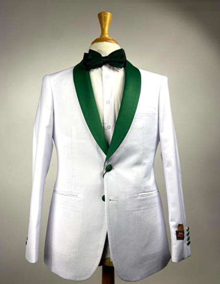 White and Olive Green  Hunter  Emerald Tuxedo Suits