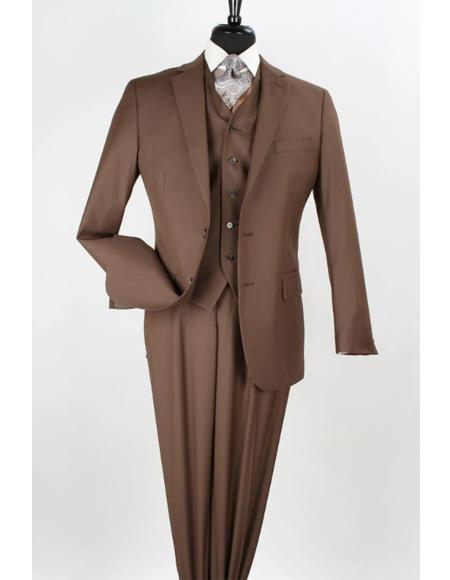 Apollo King Coffee Color - Light Brown - Mocha 2 Button Vested Suit Pleated Pants Notch Lapel Classi