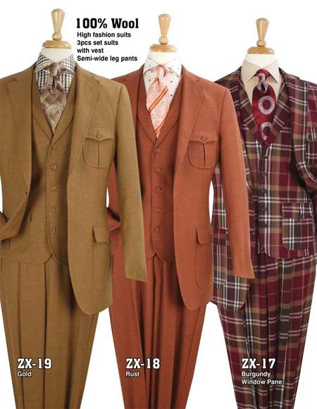 Safari Suit With Patch Pocket Military Style Wool Fabric in (Rust - Copper - Brick Color) and Gold