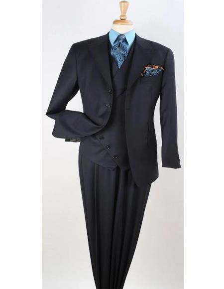 Mens Navy Blue 3pc Wool Fashion Suit