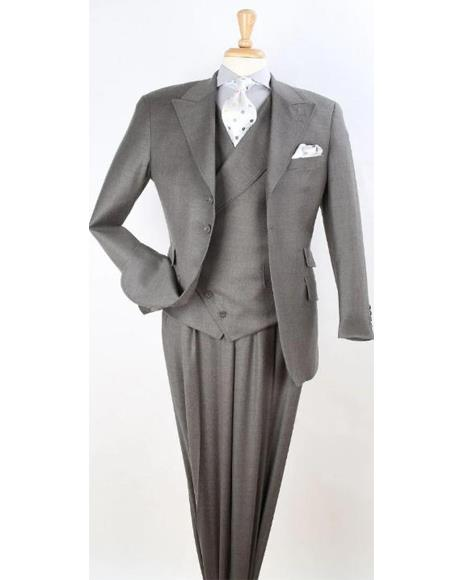Mens Charcoal 3pc Wool Fashion Suit