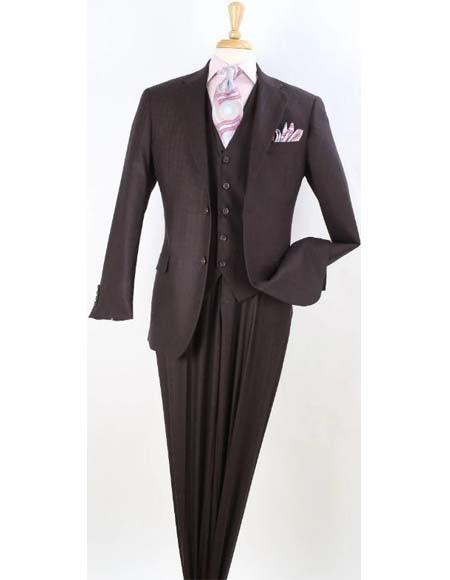 Brown Apollo King Mens Three Piece Wool Suit