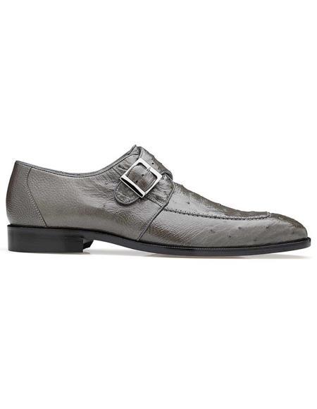 Belvedere Gray Genuine Ostrich Monk Strap Mens Shoe