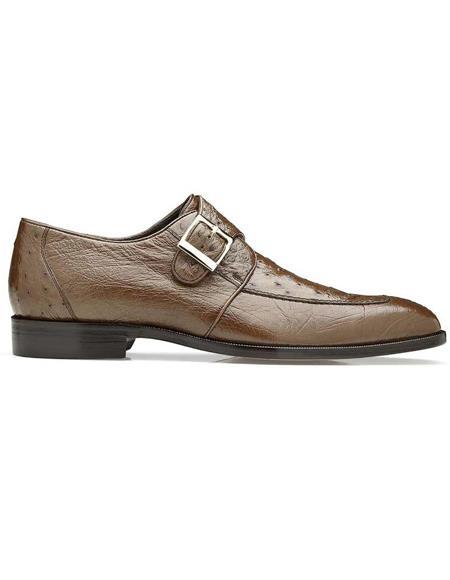 Belvedere Brown Genuine Ostrich Monk Strap Mens Shoe