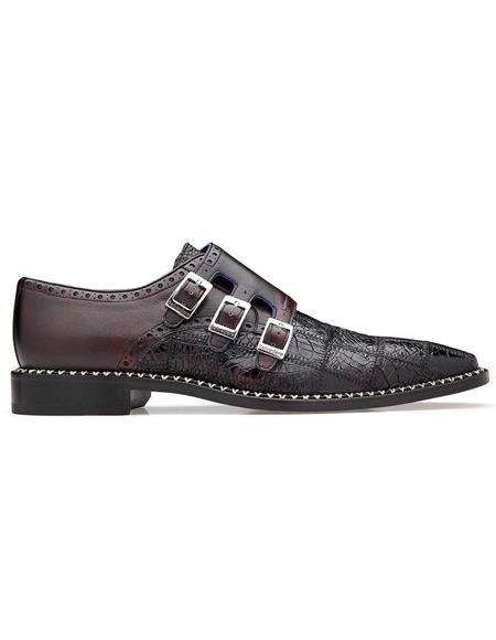 Mens double monk strap shoes Belvedere Hurricane Cherry Genuine Caiman Patch Work Monk Strap Mens Shoe