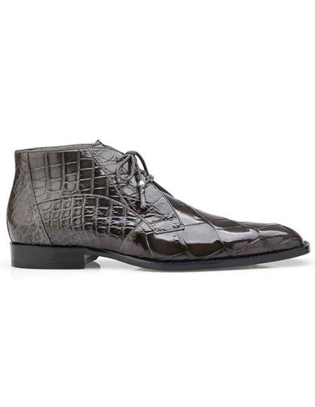 Belvedere Stefano Gray Genuine Alligator Ankle Boot