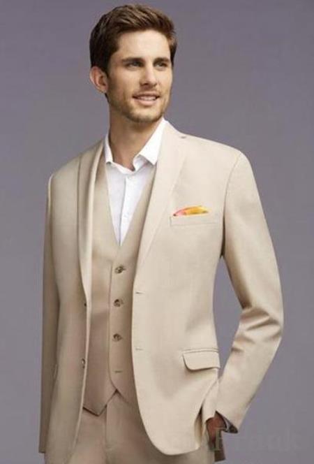 Mens Champagne Color Wedding Suit - Summer Color Tan Tuxedo