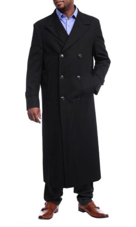 Mens Black Diamond Solid Black Wool Double Breasted Gabardine Trench Coat