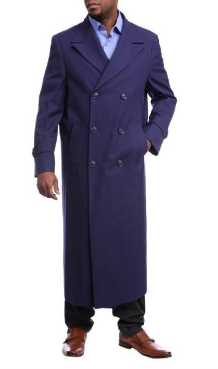 Mens Black Diamond Navy Blue Wool Gabardine Double Breasted Trench Coat