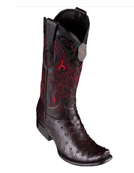 Los Altos Boots Mens Ostrich Black Cherry Cowboy Boots - H79 Dubai Toe - Botas De Avestruz