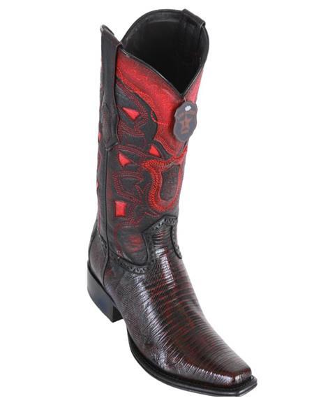Los Altos Boots Mens Lizard Teju European Toe Cowboy Boots - Black Cherry