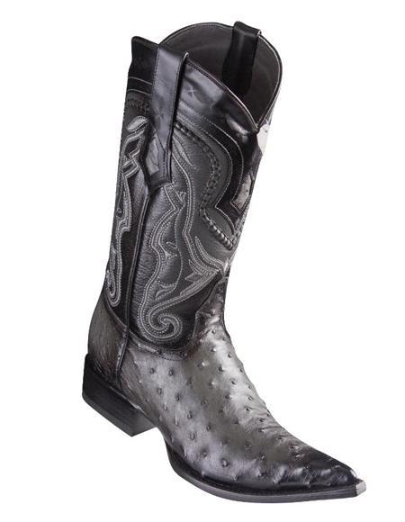 Los Altos Boots Ostrich Faded Grey Pointed Toe Cowboy Boots - Botas De Avestruz