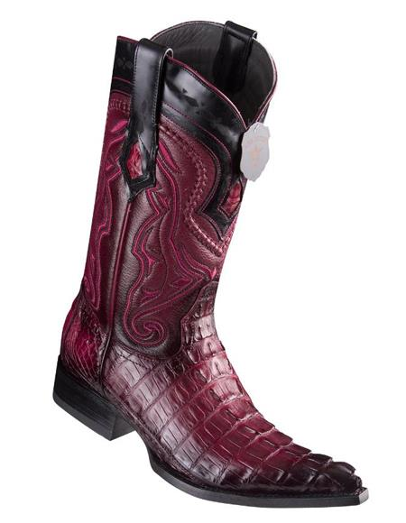 Los Altos Boots Caiman Tail Faded Burgundy Pointed Toe Cowboy Boots
