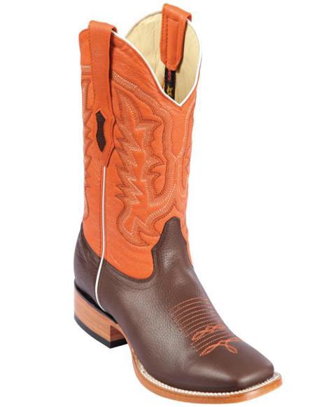 Los Altos Boots Mens Grisly Wide Square Toe Boots Brown/Orange