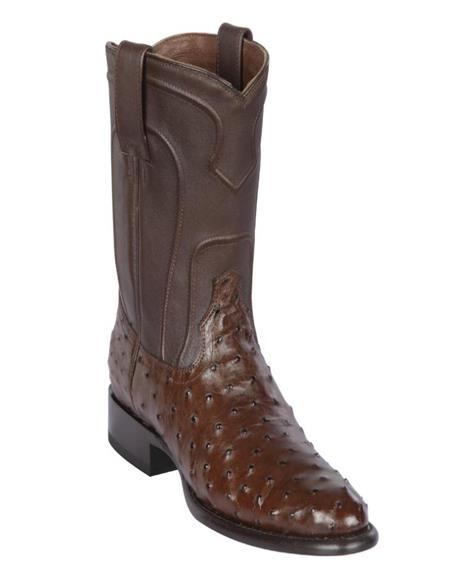 Los Altos Boots Mens Ostrich Roper Western Boots Brown