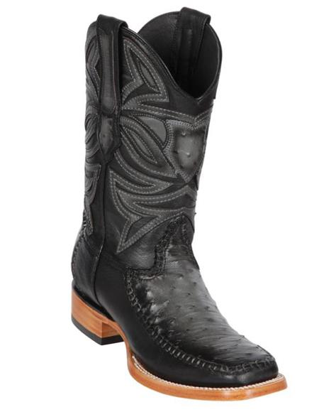 Los Altos Boots Ostrich and Deer Wide Square Toe Faded Grey