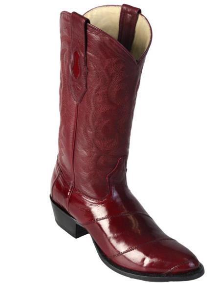 Los Altos Boots Mens Eel Burgundy R-Toe Cowboy Boots