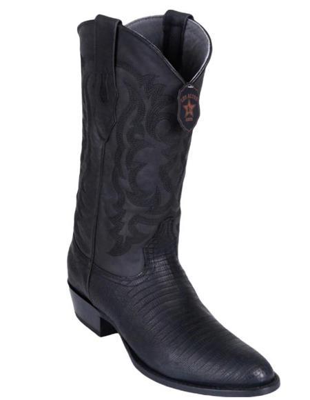 Los Altos Boots Lizard Teju R-Toe Greasy Finish Black Cowboy Boots