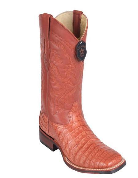 Los Altos Boots Caiman Belly Wide Cognac Square Toe Boots