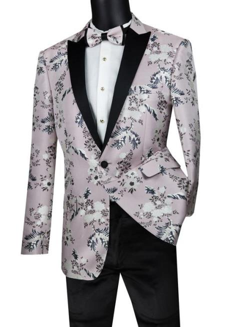 Mens Suit Single Breasted 1 Button Sport Coat Pink Color