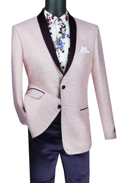 Mens Suit Single Breasted 2 Button and Metallic Stripe Sport Coat Pink Color