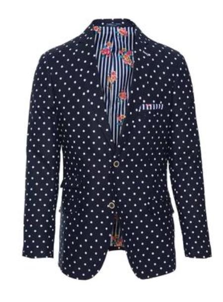 Navy White Dot Paisley and Gray Suit