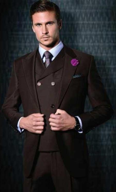 Mens Wide Leg 100% Wool Slanted Vest Burgundy