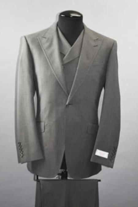 Mens Wide Leg Double Breasted Slanted Vest Grey