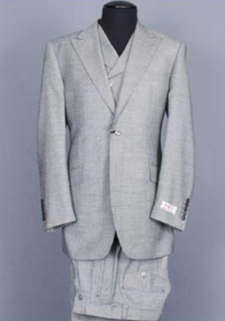 Mens Grey Wide Leg Double Breasted Wool Slanted Vest