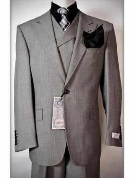 Mens Wool Fabric Slanted Vest Grey Three Piece Suit